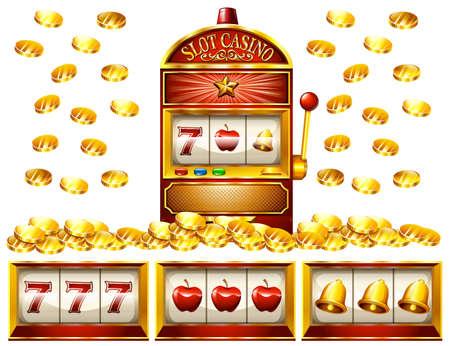 Slot machine and golden coins illustration