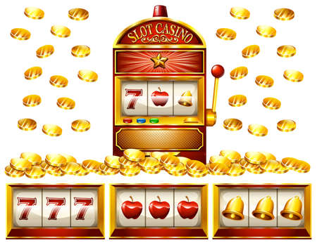 numbers clipart: Slot machine and golden coins illustration