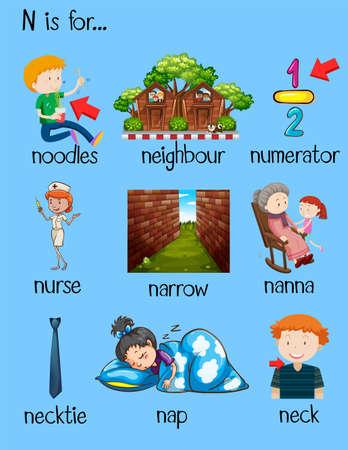 neighbor: Many words begin with letter N illustration