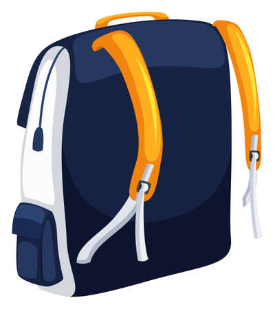 schoolbag: Backpack with blue and yellow colors illustration Illustration