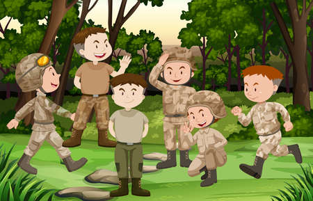 Group of soldiers in the forest illustration Illustration