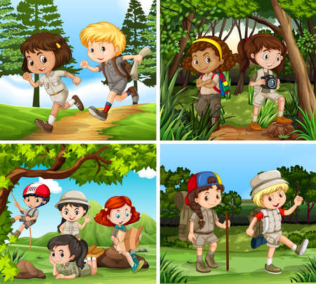 hiking: Children hiking in the woods illustration Illustration