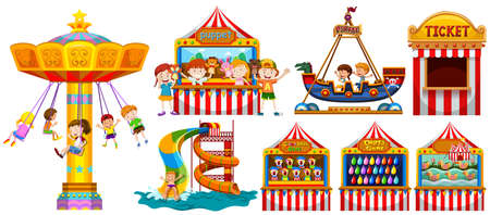 Children playing in the park and many games illustration