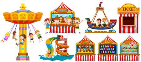 Dzieci bawiące się w parku oraz wiele gier ilustracji