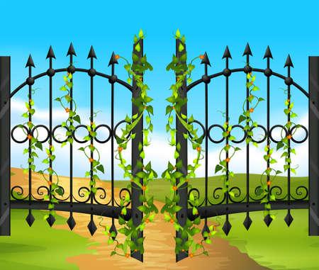 metal fence: Metal fence witn vine and flowers illustration