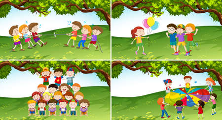child drawing: Children playing game in the park illustration