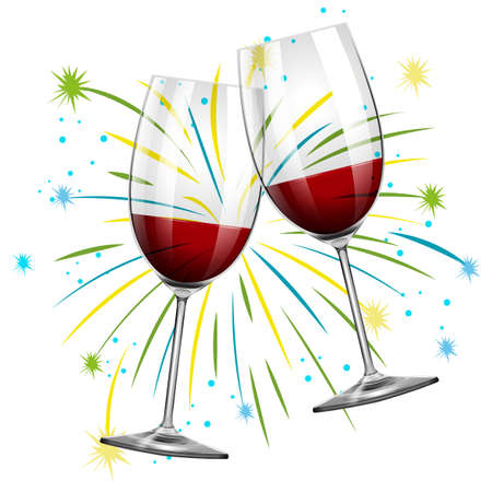 Two glasses with red wine illustration