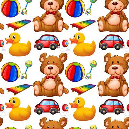 infancia: De fondo sin fisuras con muchos juguetes ilustración