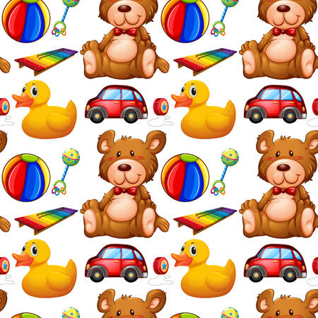 Seamless background with many toys illustration