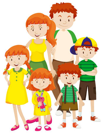 family members: Family members with parents and kids illustration