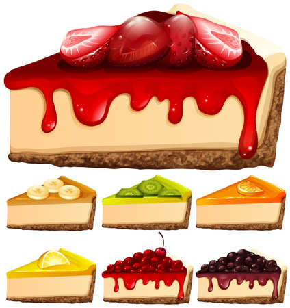 Cheesecake with different toppings illustration Vectores