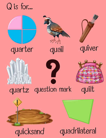 quicksand: Many words begin with letter Q illustration