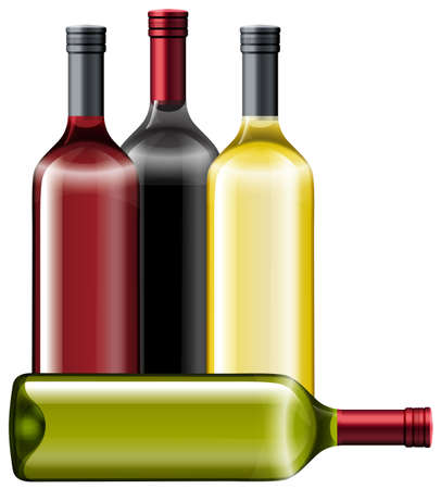 bottle wine: Four bottles of wine illustration Illustration