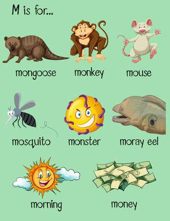 Many words begin with letter M illustration Illustration