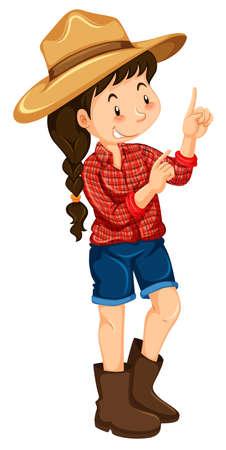 red shirt: Farm girl wearing red shirt illustration