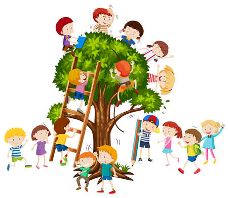 Children climbing up the tree illustration