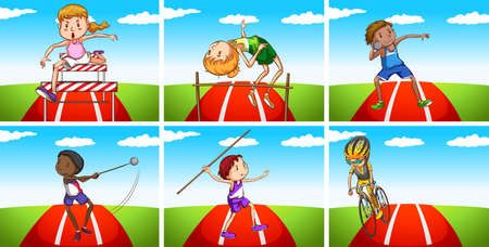 athletes: Athletes doing different sports in the field illustration