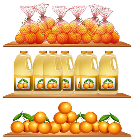 oranges: Fresh oranges and juice on the shelves illustration