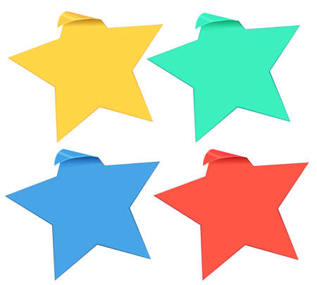 icon series: Set of star stickers in four colors illustration Illustration
