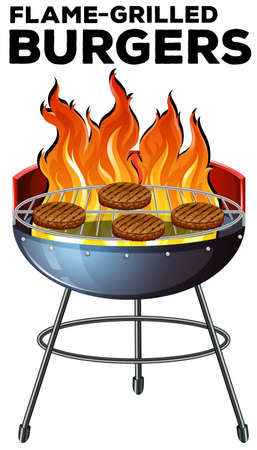 Burger cooking on the flame-grilled illustration