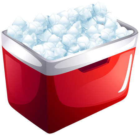Red icebox full of ice illustration