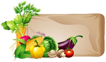 Frame design with fresh vegetables illustration