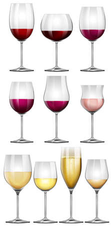 chardonnay: Wine glasses filled with wine illustration