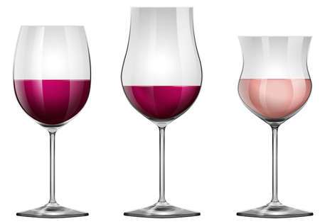 group of objects: Three wine glasses with wine illustration Illustration