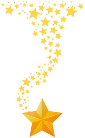 Background design with golden stars illustration