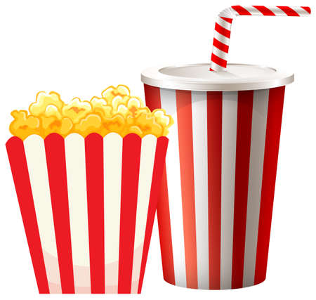softdrink: Popcorn in box and cup of drink illustration