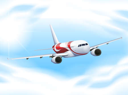 oversea: Airplane flying in the sky illustration