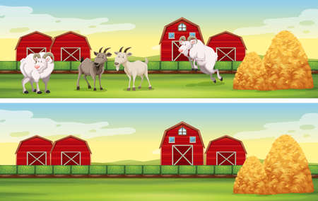 Farm scene with goats and barns illustration Illustration