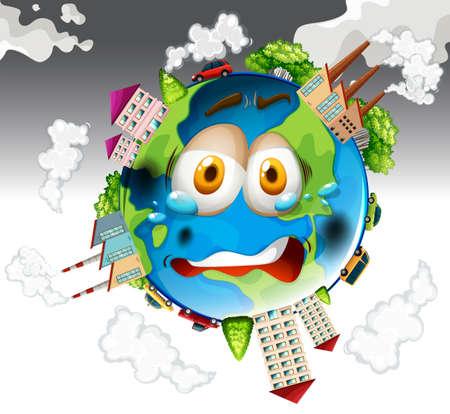 La contaminación del aire de las fábricas en la ilustración de la Tierra
