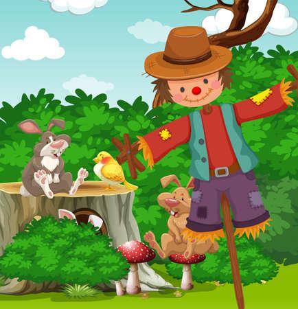 Scarecrow in the field illustration Illustration