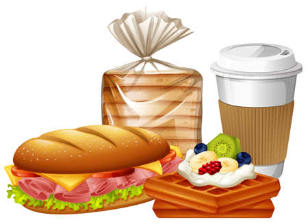 Breakfast set with waffles and bread illustration