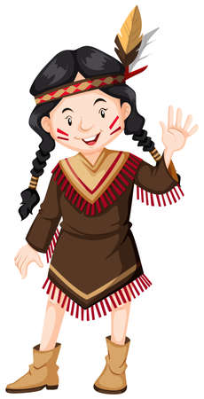 indian teenager: Girl native american indian illustration