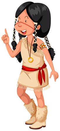 indian teenager: Native American Indian in traditional costume illustration