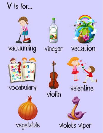 begin: Many words begin with letter V illustration