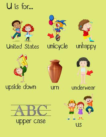 begin: Many words begin with letter U illustration