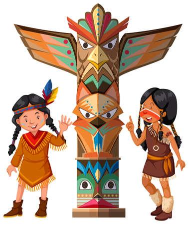 두 개의 빨간색 인디언과 토템 기둥 그림