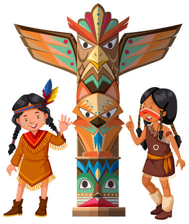 Two Red indians and totem pole illustration