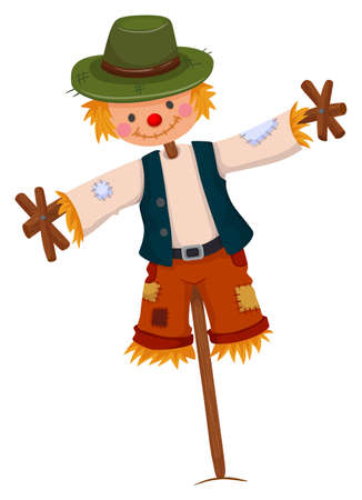Scarecrow wearing green hat illustration Vectores