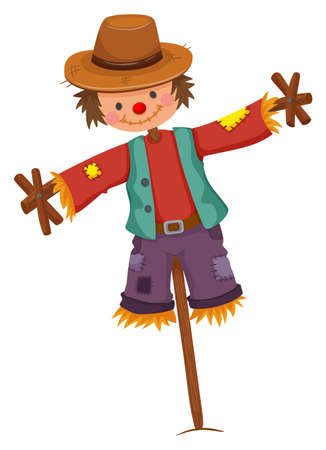 wooden stick: Scarecrow on wooden stick illustration