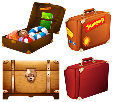 toy chest: Set of different suitcases illustration