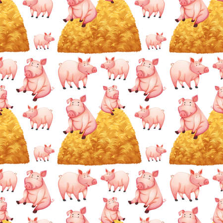 Seamless background with pigs and haystacks illustration