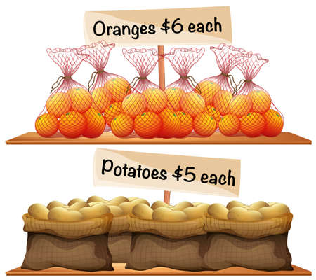 grocer: Bags of potatoes and oranges illustration