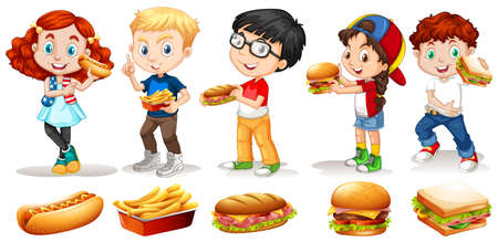 friends eating: Boys and girls eating fastfood illustration