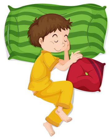 Little boy in yellow pj sleeping illustration