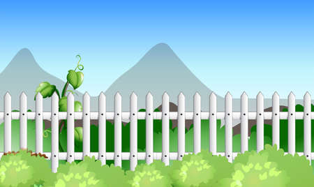 outside the house: Scene with fence and garden illustration