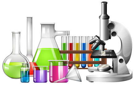 biology lab: Science equipment with microscope and beakers illustration Illustration
